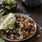 Roasted Vegetable and Caramelized Onion Omelette with Feta   TheRoastedRoot.net #vegetarian #recipe #healthy #breakfast