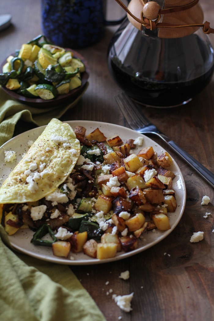 Roasted Vegetable and Caramelized Onion Omelette with Feta | TheRoastedRoot.net #vegetarian #recipe #healthy #breakfast