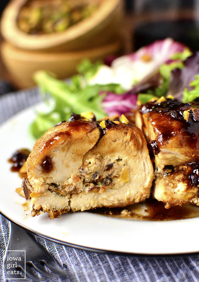 Fig, Goat Cheese, and Pistachio Stuffed Chicken with Fig Balsamic Sauce