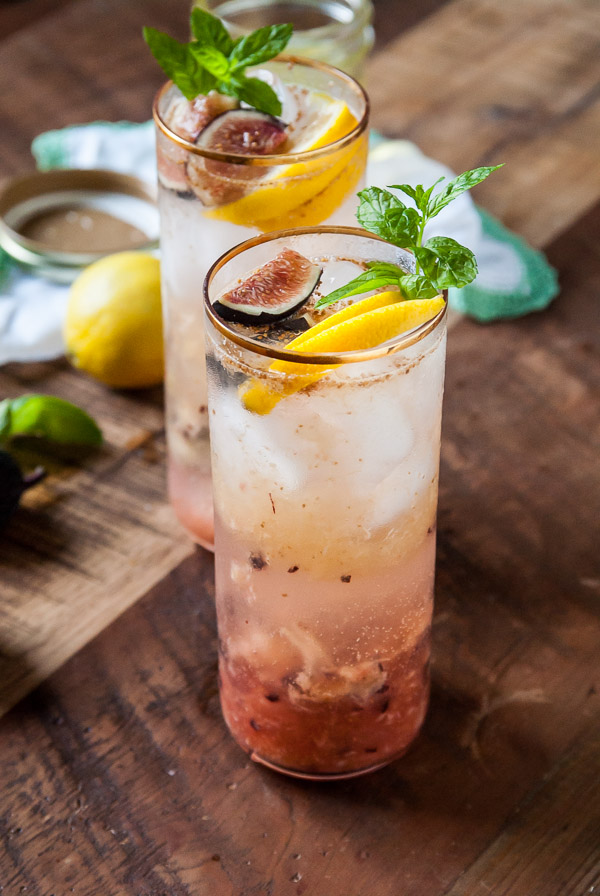 Fig and Lemon Sparkler with Basil-Mint Simple Syrup #cocktail #drink #recipe