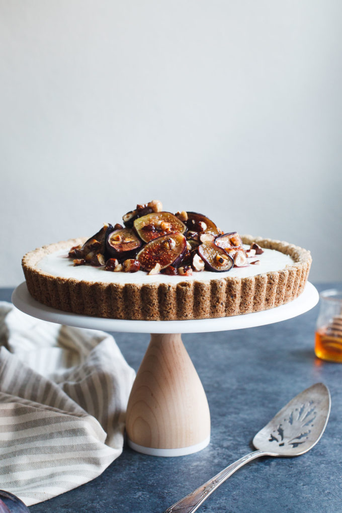 Ginger Goat Cheese Cheesecake with Roasted Figs and Hazelnuts - gluten-free dessert recipe