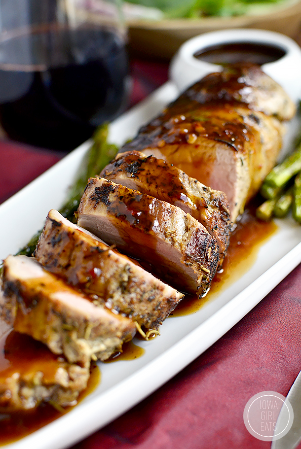 Quick Roasted Pork Tenderloin with Fig and Chili Sauce #recipe #glutenfree