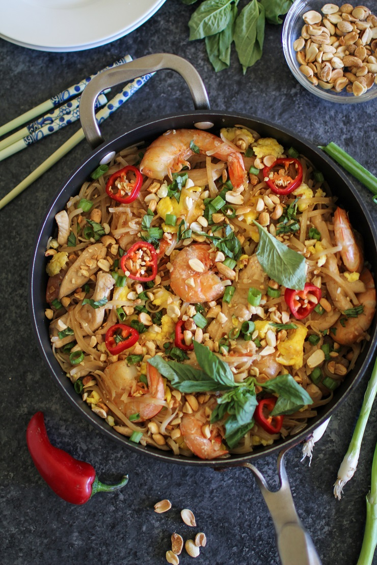 Easy 30-Minute Chicken Pad Thai |TheRoastedRoot.net #glutenfree #thai #dinner #healthy #30minutemeals