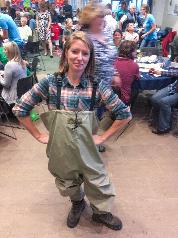 Julia Mueller in waders