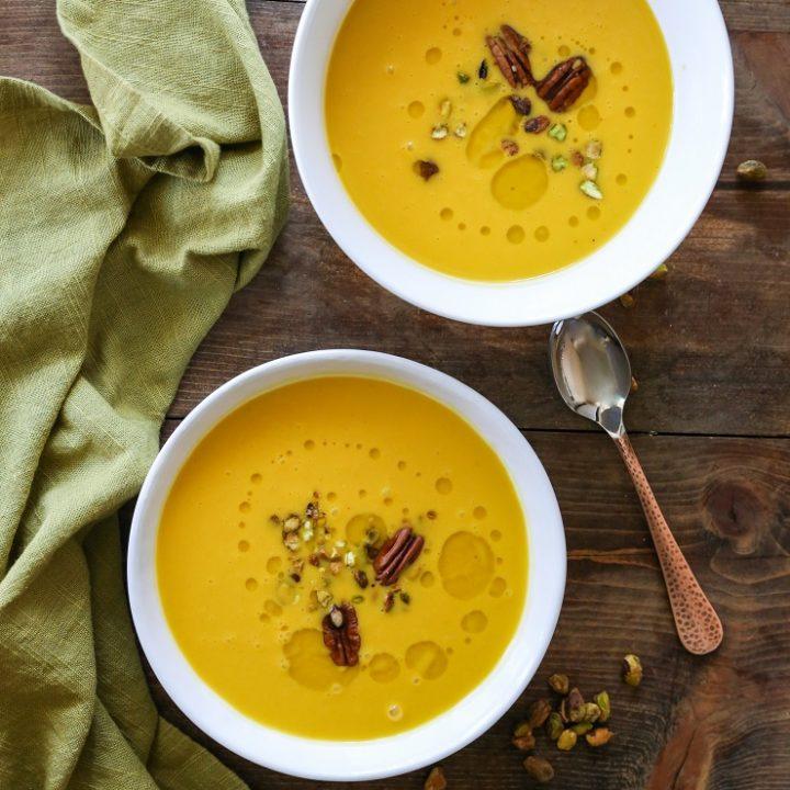 Crock Pot Butternut Squash Apple Soup - dairy-free, gluten-free, and healthy | TheRoastedRoot.net #recipe #dinner #fall