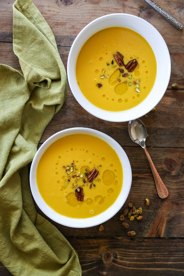 Crock Pot Butternut Squash Apple Soup - dairy-free, gluten-free, and healthy | TheRoastedRoot.net #recipe #dinner #fall