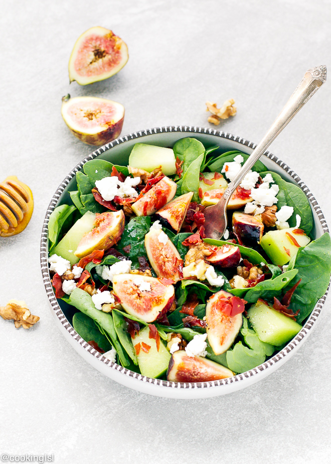 Spinach, Prosciutto, Honeydew and Fig Salad