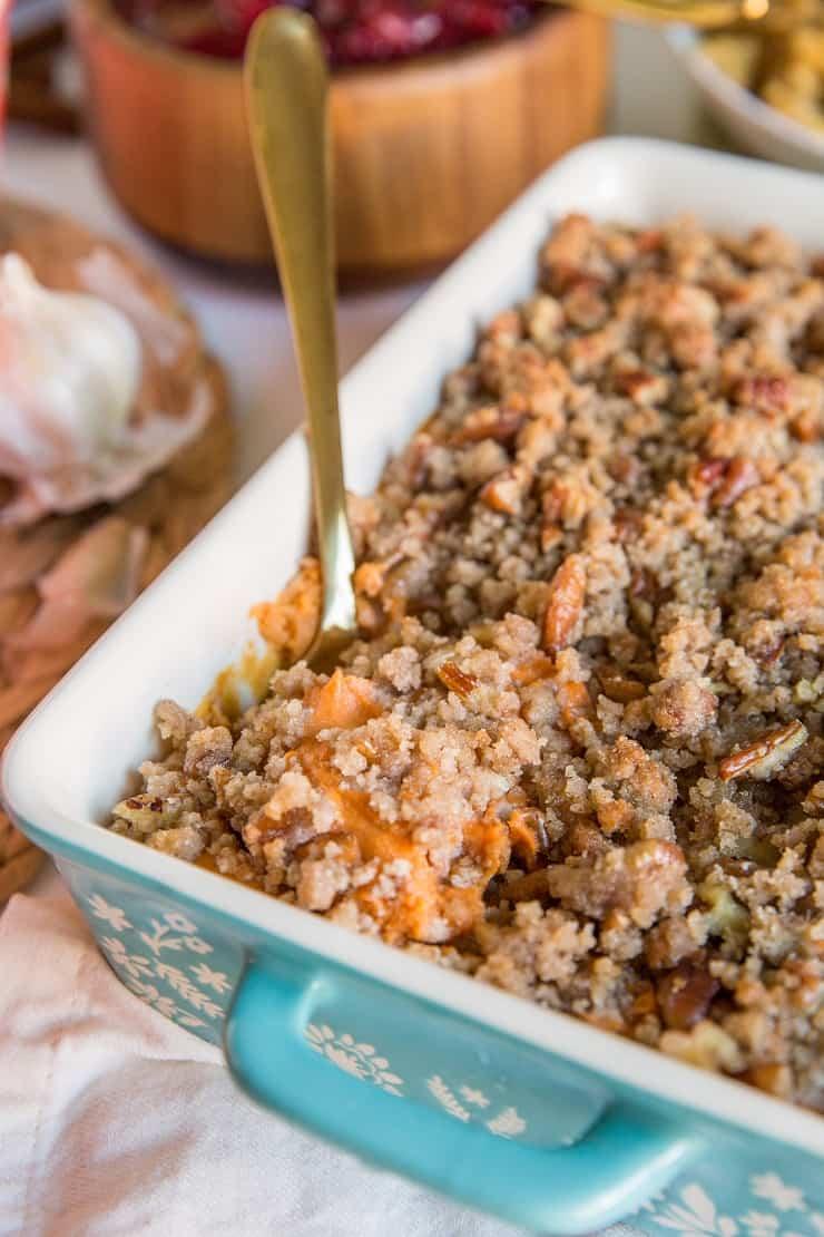 Healthy Paleo Sweet Potato Casserole - dairy-free, gluten-free, grain-free, refined sugar-free, healthier take on classic sweet potato casserole