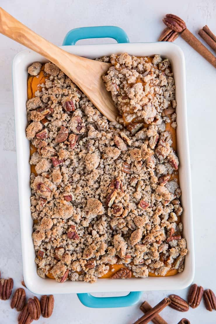 Paleo Healthy Sweet Potato Casserole made grain-free, refined sugar-free, gluten-free dairy-free and delicious! A healthier version of classic Sweet Potato Casserole