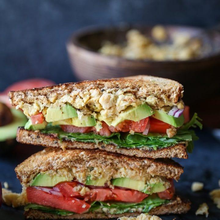 Hummus Mashed Chickpea Sandwiches | TheRoastedRoot.net #healthy #glutenfree #lunch #vegan #vegetarian