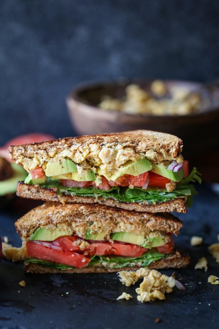 Hummus Mashed Chickpea Sandwiches | TheRoastedRoot.net #healthy #glutenfree #lunch #vegan #vegetarian