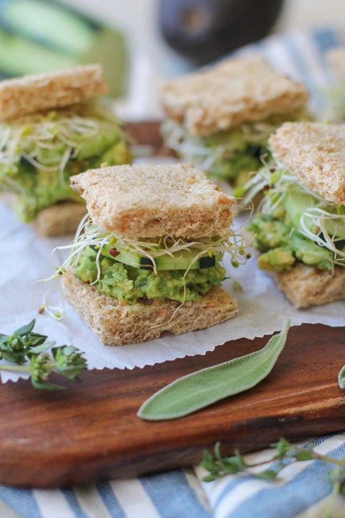 Mashed Avocado Finger Sandwiches | TheRoastedRoot.net #glutenfree #appetizer #healthy #vegetarian #vegan