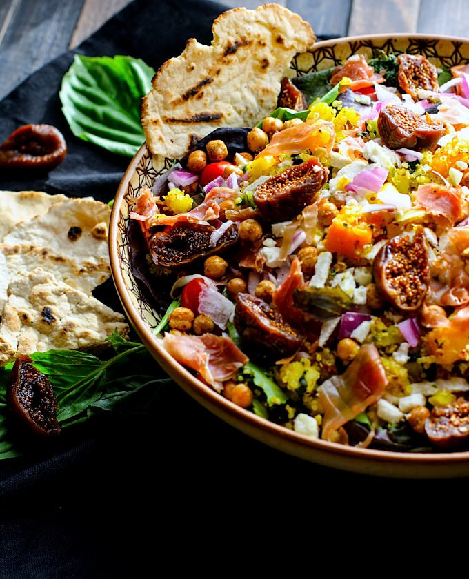 Moroccan Salad with Fig, Basil and Prosciutto