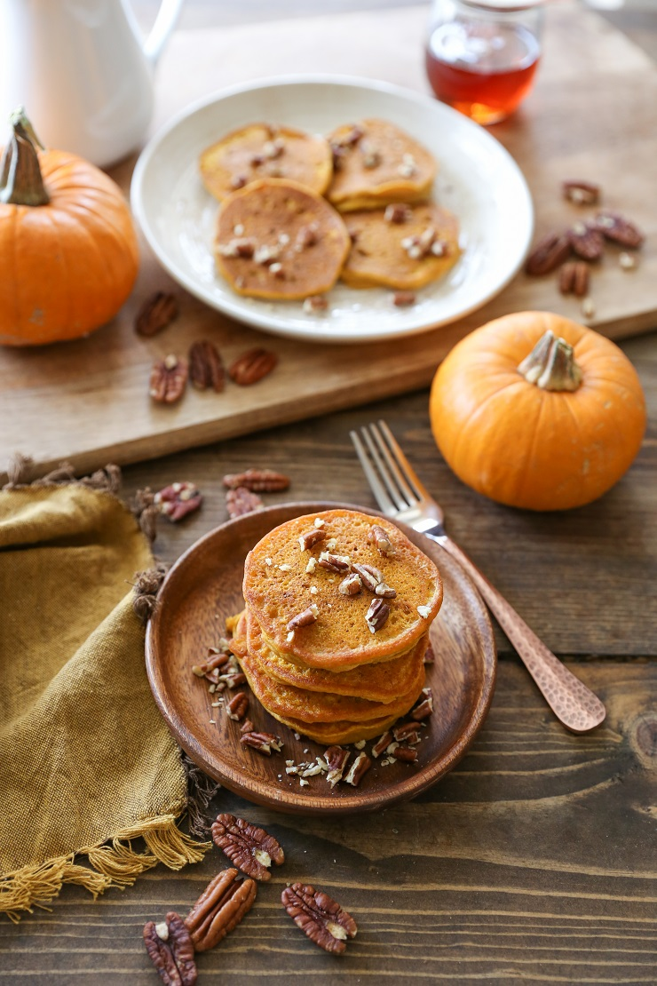 Gluten-Free Pumpkin Pancakes with Cinnamon-Bourbon Syrup | TheRoastedRoot.net #healthy #breakfast #recipe #glutenfree
