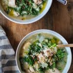 Crock Pot Chicken, Artichoke, and Kale Soup | TheRoastedRoot.net #healthy #recipe #glutenfree #dinner #slowcooker