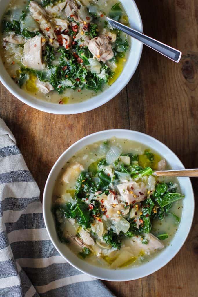 Crock Pot Chicken, Artichoke, and Kale Soup | TheRoastedRoot.net #healthy #recipe #glutenfree #dinner #slowcooker