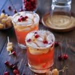 Cranberry Dark and Stormy cocktails | TheRoastedRoot.net #drink #beverage #Thanksgiving #friendsgiving #recipe
