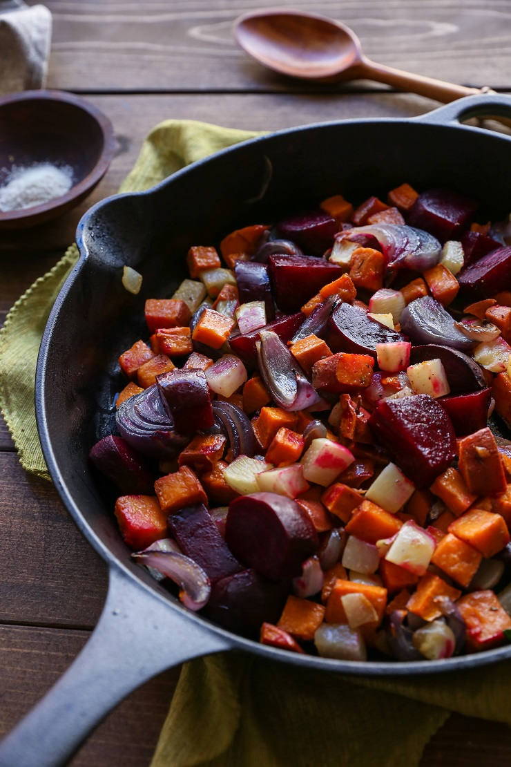 Oven-Roasted Root Vegetables - a superfood nutritious side dish that requires very little effort to make! | TheRoastedRoot.net #healthy #recipe #sidedish #rootvegetables #vegan