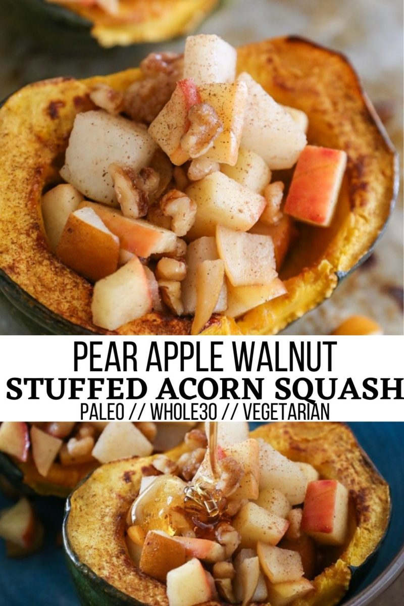 Pear Apple Walnut Stuffed Acorn Squash - an easy, delicious fall side dish that is paleo, whole30, and vegetarian