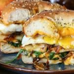 Pear Apple Cheddar Caramelized Onion Grilled Cheese Bagel Sandwiches   TheRoastedRoot.net #vegetarian #healthy #recipe
