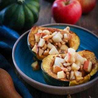 Pear Apple Walnut Stuffed Acorn Squash