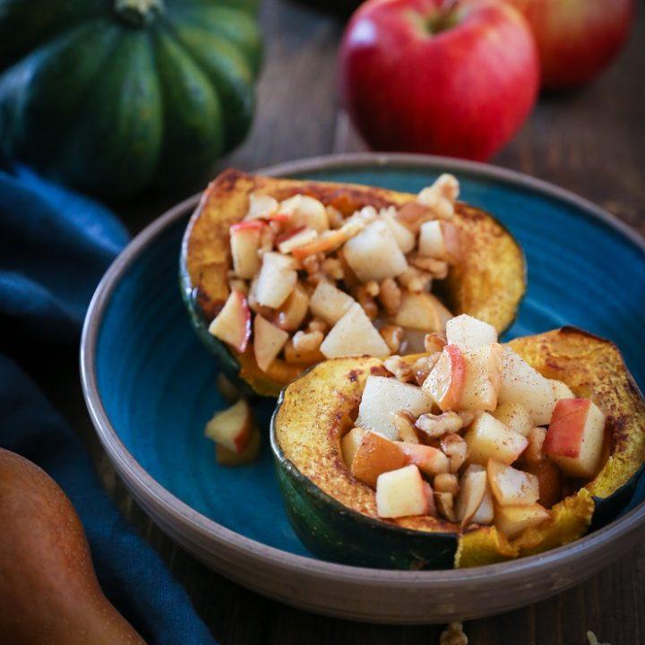 Pear, Apple, Walnut Stuffed Acorn Squash | TheRoastedRoot.net #healthy #recipe #sidedish #holiday #fall #glutenfree #paleo
