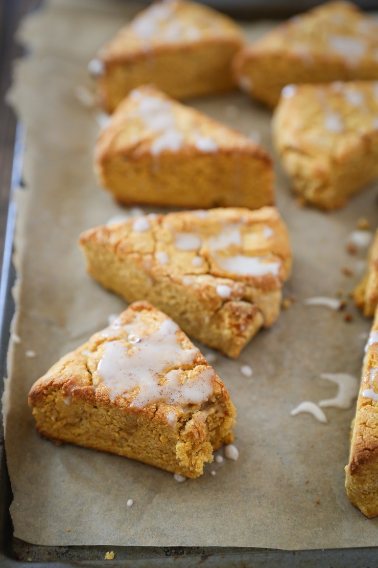 Vegan Pumpkin Scones with Coffee Glaze - gluten-free and refined sugar-free | TheRoastedRoot.net #glutenfree #vegan #healthy #breakfast
