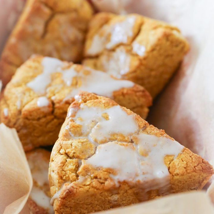 Vegan Pumpkin Scones with Coffee Glaze - gluten-free and refined sugar-free | TheRoastedRoot.net #glutenfree #vegan #healthy #breakfast