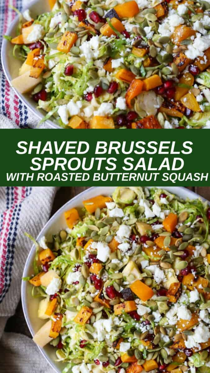 A fresh and clean shaved Brussels sprout salad with roasted butternut squash, pomegranate seeds, pumpkin seeds, chopped apple, and feta cheese – all tied together with a citrusy maple cinnamon dressing.