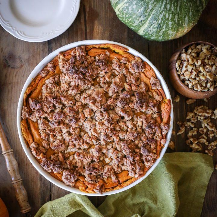 Kabocha Squash Casserole - gluten-free, refined sugar-free healthy holiday side dish | TheRoastedRoot.net #vegetarian #healthy #thanksgiving