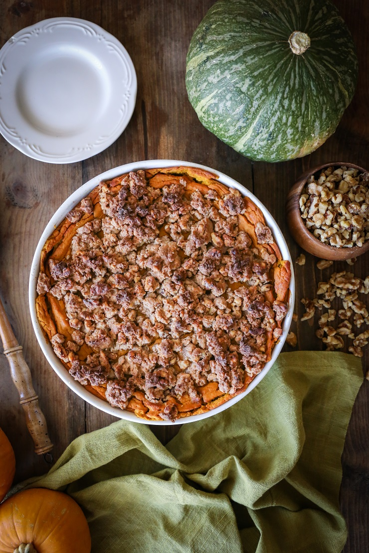 Kabocha Squash Casserole - gluten-free, refined sugar-free healthy holiday side dish | TheRoastedRoot.net #vegetarian #healthy #thanksgiving