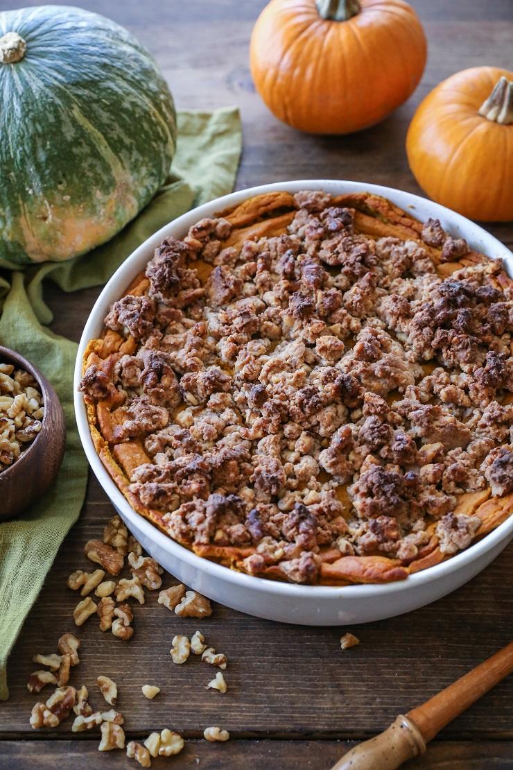 Kabocha Squash Casserole - gluten-free, refined sugar-free healthy holiday side dish   TheRoastedRoot.net #vegetarian #healthy #thanksgiving