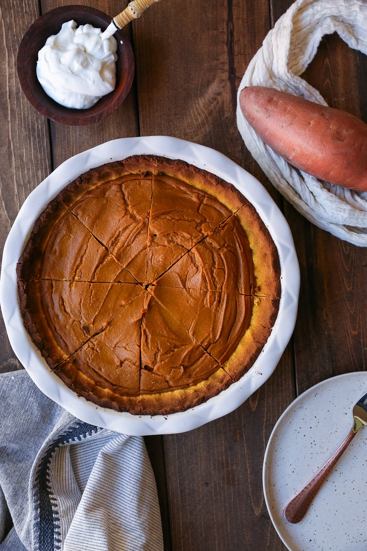 Chai-Spiced Vegan Sweet Potato Pie | TheRoastedRoot.net a healthy, gluten-free, paleo-friendly holiday dessert #paleo #primal #vegan #dairyfree