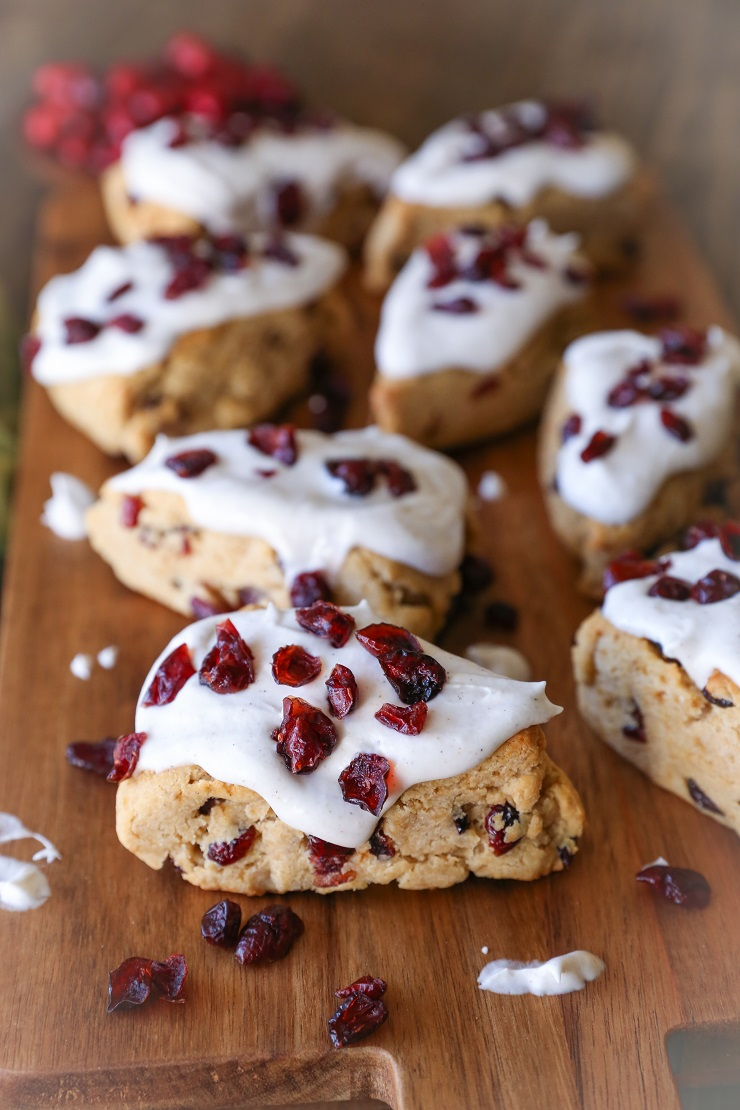 Gluten-Free Cranberry Scones with Chai Glaze - naturally sweetened and lightened up! | TheRoastedRoot.net #healthy #breakfast #brunch #holiday