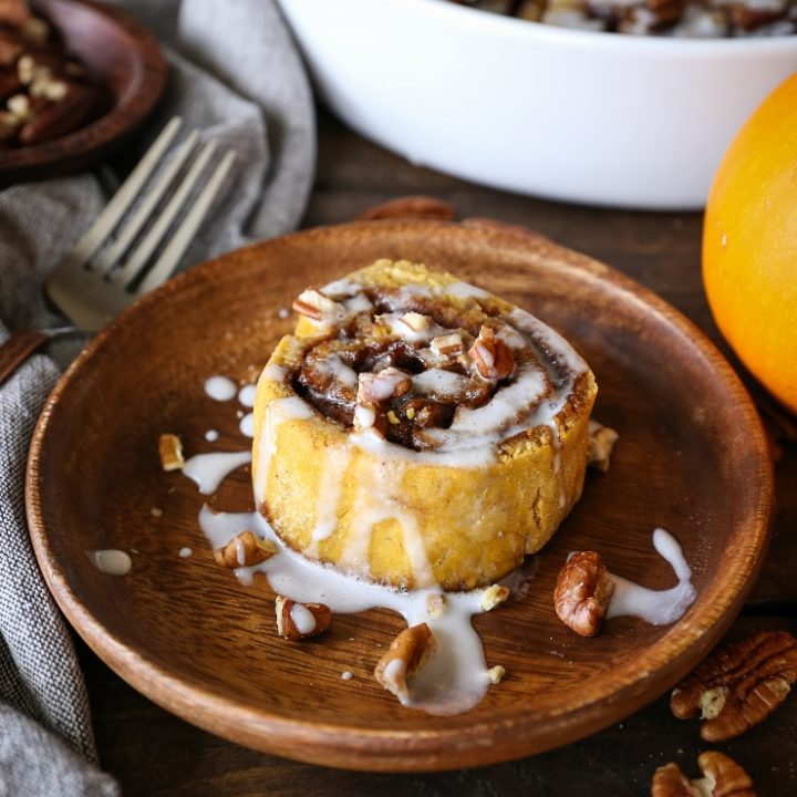 Gluten-Free Pumpkin Cinnamon Rolls with Coconut Milk Glaze - naturally sweetened and dairy-free | TheRoastedRoot.net #healthy #holiday #breakfast #glutenfree