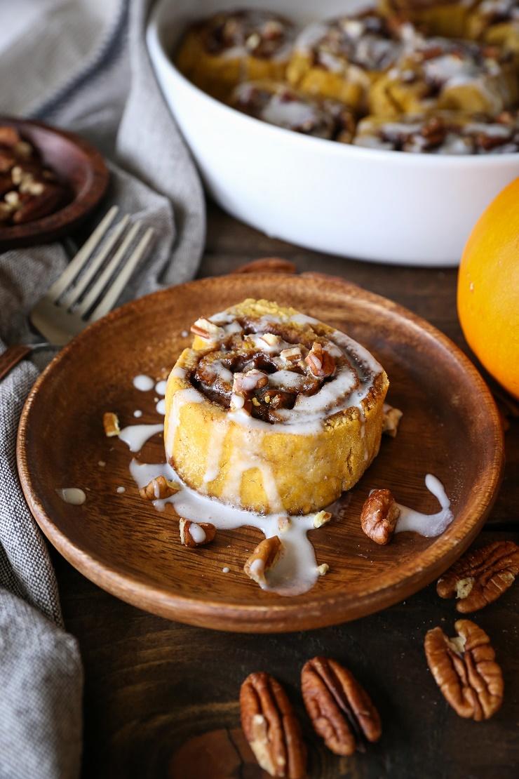 Gluten-Free Pumpkin Cinnamon Rolls with Coconut Milk Glaze - naturally sweetened and dairy-free   TheRoastedRoot.net #healthy #holiday #breakfast #glutenfree