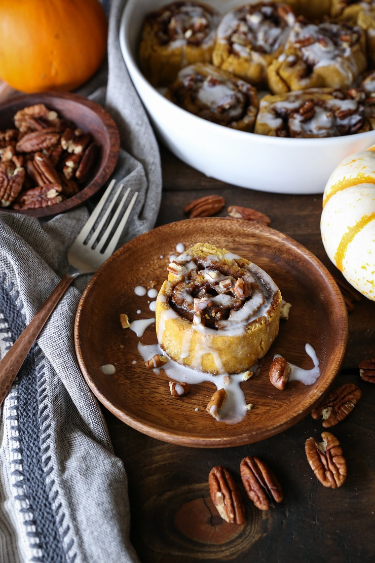Gluten-Free Pumpkin Cinnamon Rolls with Coconut Milk Glaze - naturally sweetened and dairy-free | TheRoastedRoot.net #healthy #holiday #breakfast #glutenfree