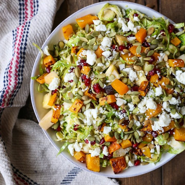 Shaved Brussels Sprout Salad with Roasted Butternut Squash