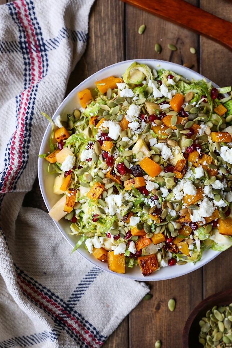 Shaved Brussel Sprout Salad with Roasted Butternut Squash ...