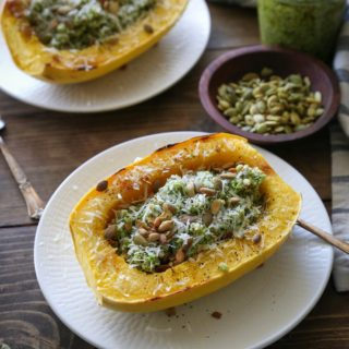 Spaghetti Squash with Broccoli-Pumpkin Seed Pesto