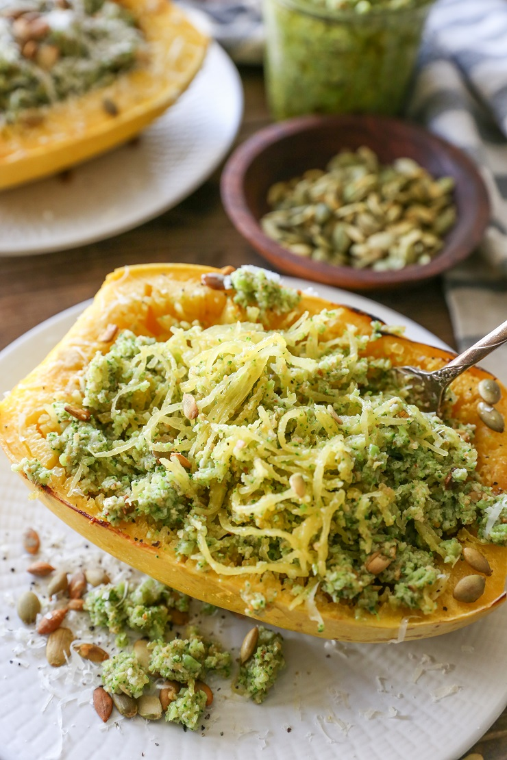 Spaghetti Squash with Broccoli Pumpkin Seed Pesto | TheRoastedRoot.net #healthy #dinner #recipe #glutenfree #almostpaleo #vegetarian