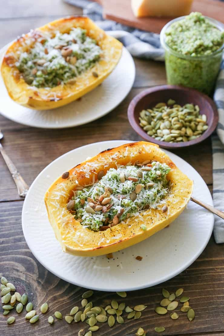 Spaghetti Squash with Broccoli-Pumpkin Seed Pesto #vegetarian #glutenfree #healthy #dinner #recipe