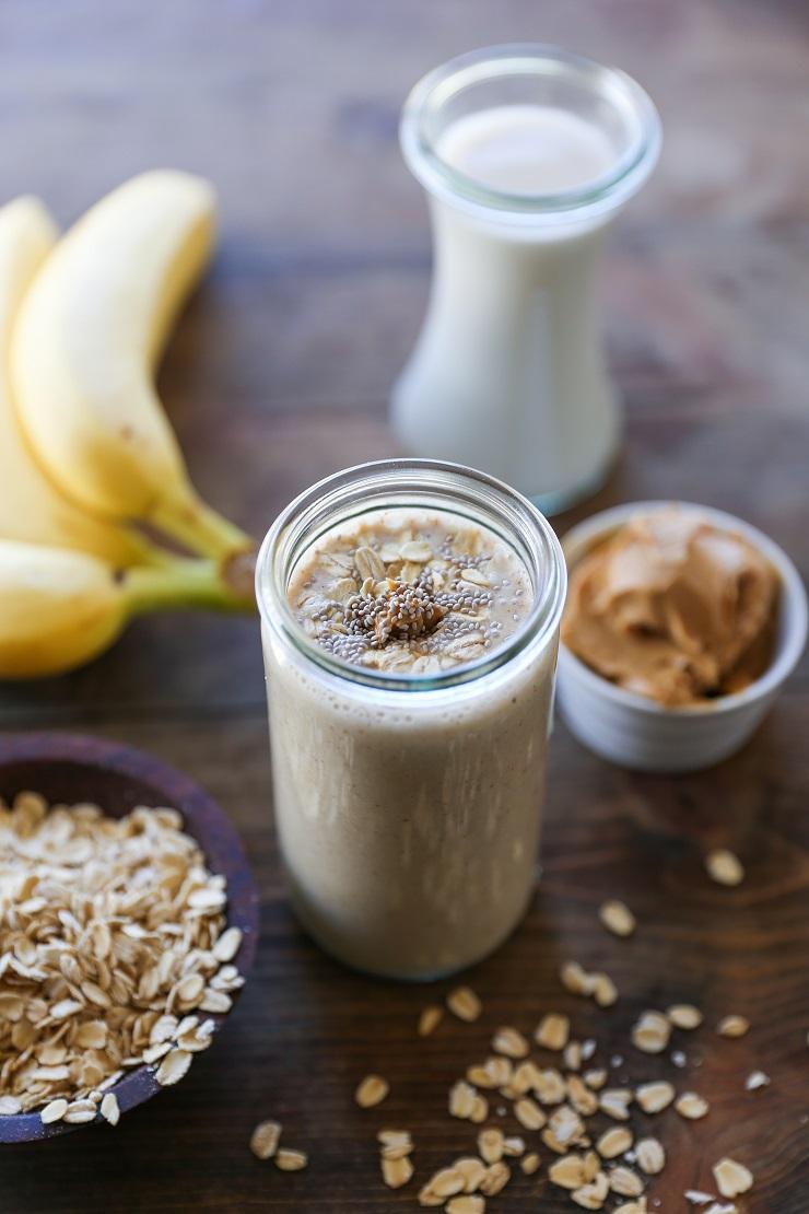 Banana Bread Oat Protein Smoothie | TheRoastedRoot.net #healthy #drink #beverage #breakfast #vegan #smoothie