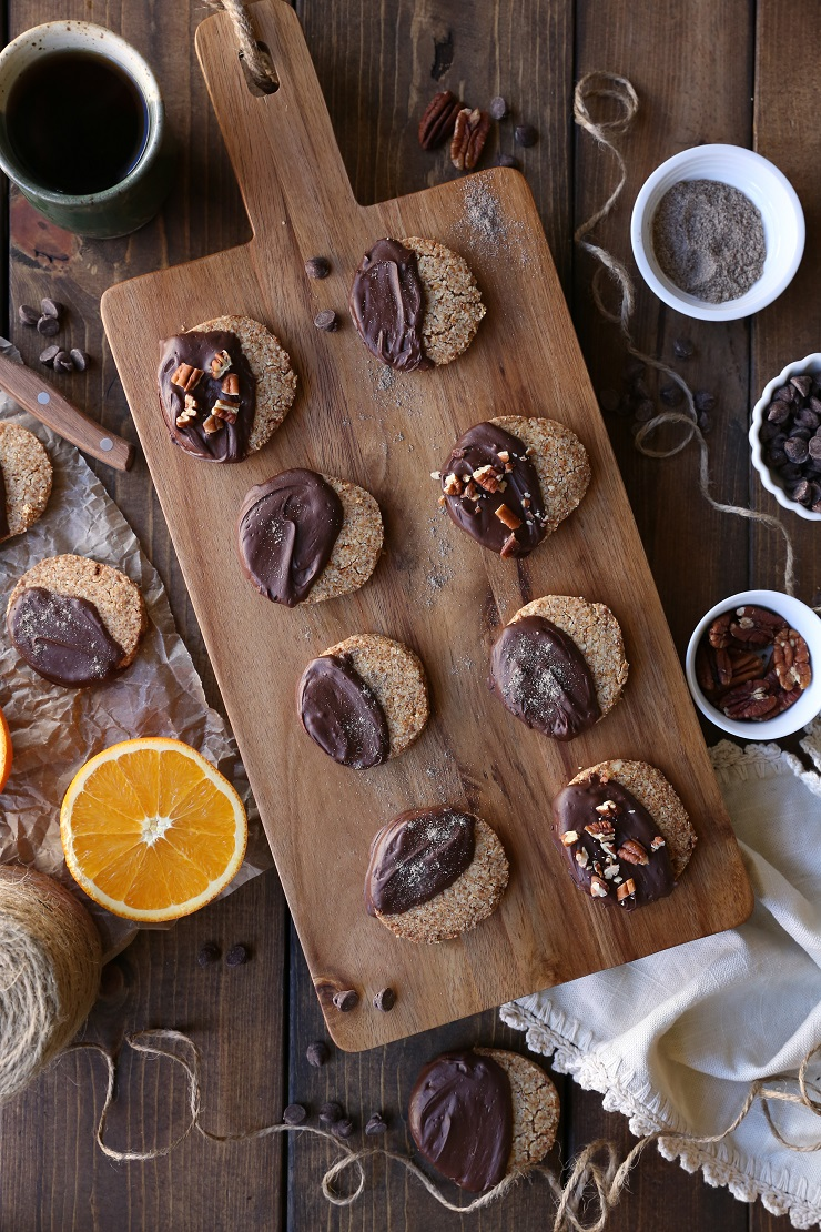 Chocolate Dipped Cardamom Orange Paleo Shortbread Cookies (Vegan) | TheRoastedRoot.net #healthy #dessert #recipe #glutenfree #sugarfree #paleo #holiday #christmascookies