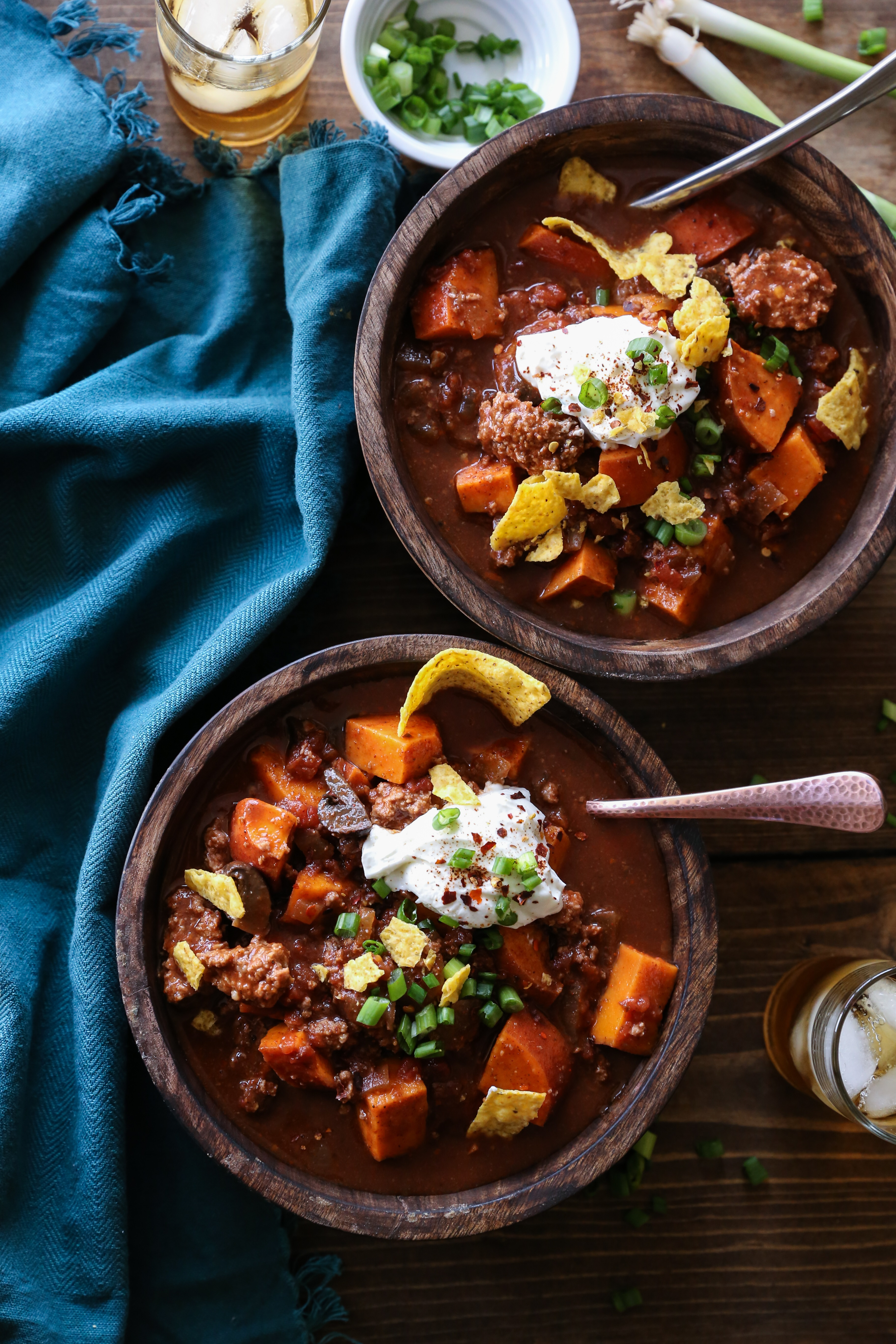 Crock Pot Boozy Bison and Sweet Potato Chili - bean-free and gluten-free and can easily be made paleo by omitting the booze. | TheRoastedRoot.net #healthy #glutenfree #dinner #slowcooker #recipe