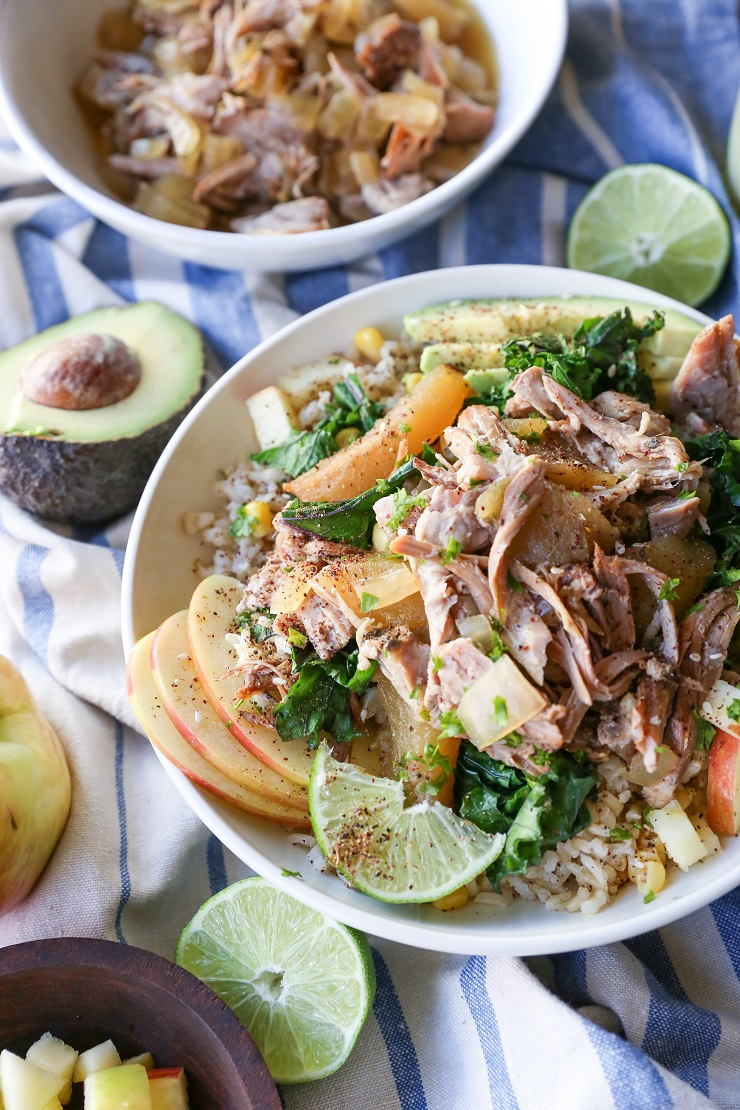 Crock Pot Pulled Pork & Apple Bowls with Sauteed Kale and Avocado | TheRoastedRoot.net #healthy #dinner #recipe #almostpaleo