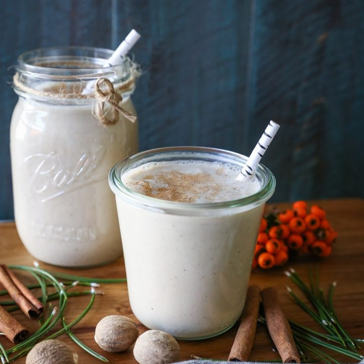 Dairy-Free Paleo Eggnog   TheRoastedRoot.net - made with coconut milk, almond milk, maple syrup, and coconut sugar for a refined sugar-free holiday treat #drink #recipe