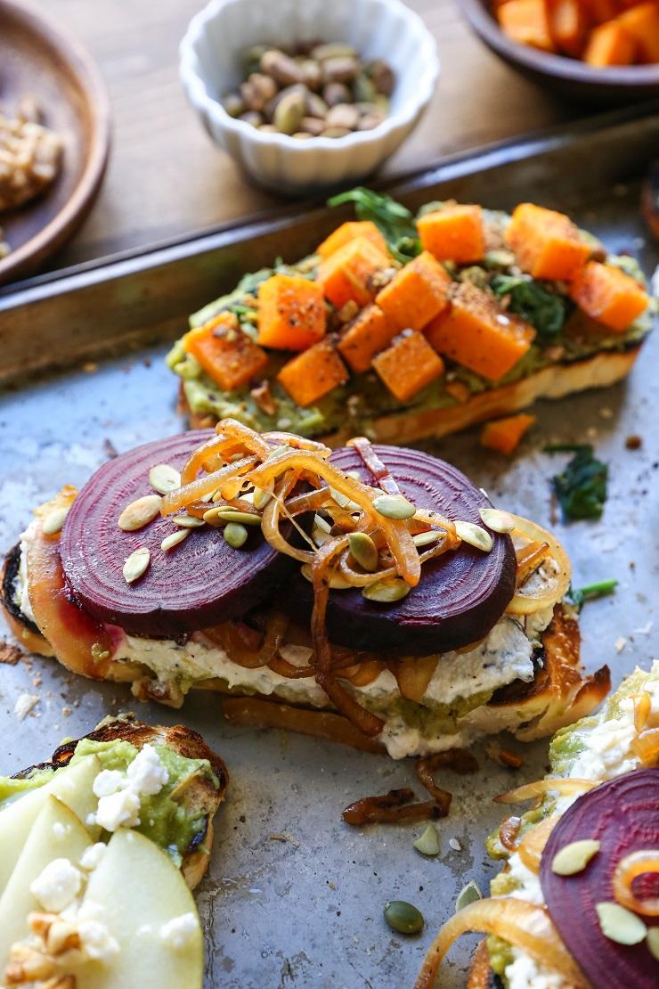 Healthy Winter Toast - 3 Ways!   TheRoastedRoot.net #vegetarian #toast #avocadotoast #glutenfree