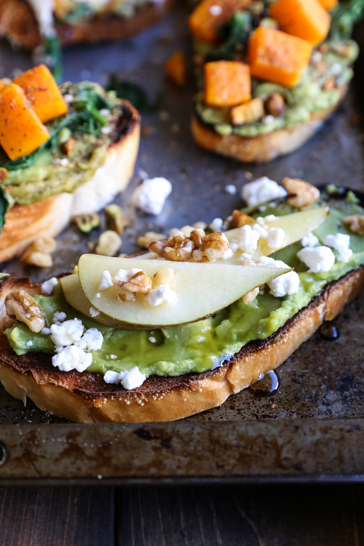 Healthy Winter Toast - 3 Ways! | TheRoastedRoot.net #vegetarian #toast #avocadotoast #glutenfree