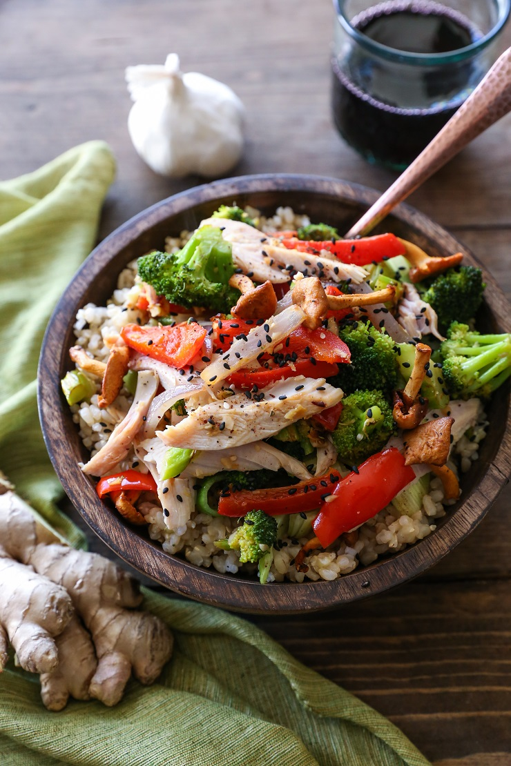 Leftover Turkey Stir Fry - a quick dinner recipe with only a few ingredients required | TheRoastedRoot.net #healthy #recipe #dinner